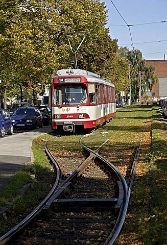 Rheinbahn Tram Type GT85, at terminus Derendorf Nord, Duesseldorf, North Rhine-Westphalia, Germany, Europe