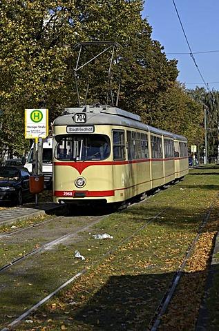 Rheinbahn Tram Type GT8, at terminus Derendorf Nord, Duesseldorf, North Rhine-Westphalia, Germany, Europe