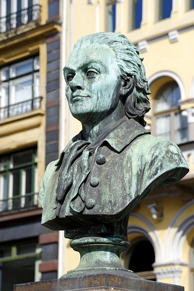 Johan Herman Wessel, 1742-1785, poet, memorial, Karl Johans gade, Oslo, Norway, Scandinavia, Europe