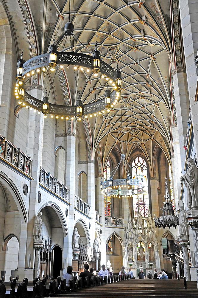 Interior, Evangelische Schlosskirche Protestant castle church, Luther city Wittenberg, Saxony-Anhalt, Germany, Europe