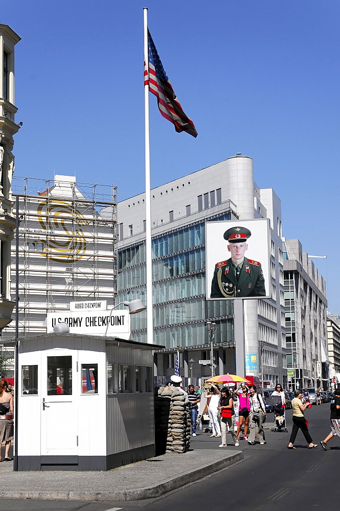 Former border checkpoint, Checkpoint Charlie, federal capital Berlin, Germany, Europe