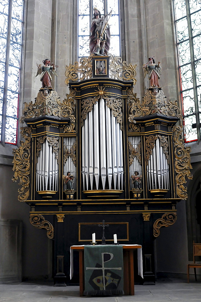 Organ, Regiswindis Protestant Church, Lauffen, Baden-Wuerttemberg, Germany, Europe