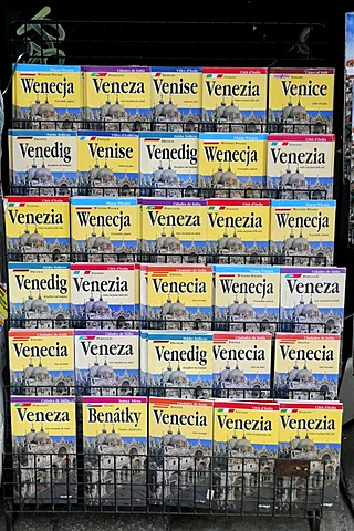 Tourist guide books for Venice in different languages, Venice, Veneto, Italy, Europe