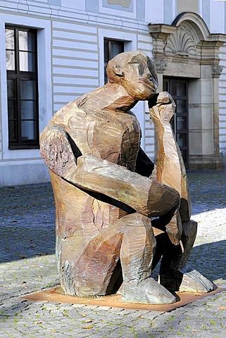 Nighthart, bronze figure by Dietrich Klinge, 2001, Johannesplatz square, Schwaebisch Gmund, Baden-Wuerttemberg, Germany, Europe