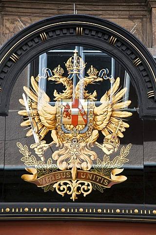 Purveyor to the Court emblem, shop front in Kohlmarkt, Coal Market Square, Vienna, Austria, Europe