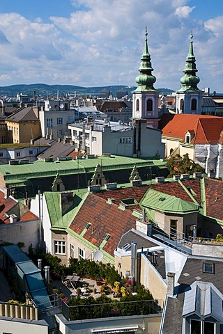 Houses and roofs near the Mariahilfer Strasse street, Vienna, Austria, Europe