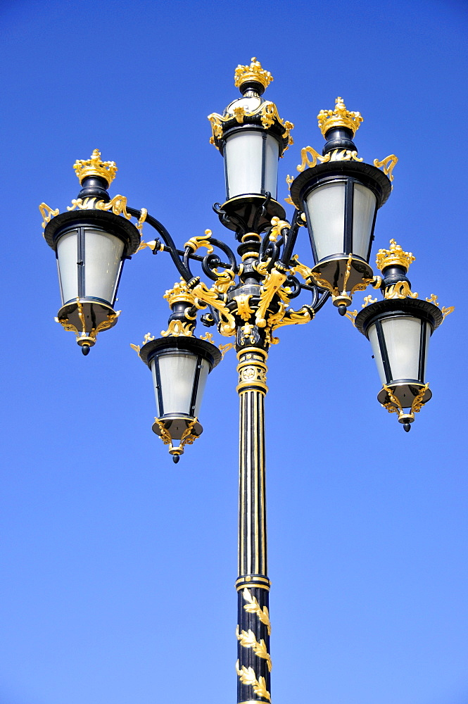 Gilded street lanterns on the grounds of the Palacio Real, Royal Palace, Madrid, Spain, Iberian Peninsula, Europe
