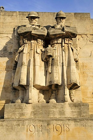 War memorial to the fallen of the 1st World War by British sculptor Charles Sargeant Jagger, 1885-1934, on Place Poelaert, Brussels, Belgium, Europe