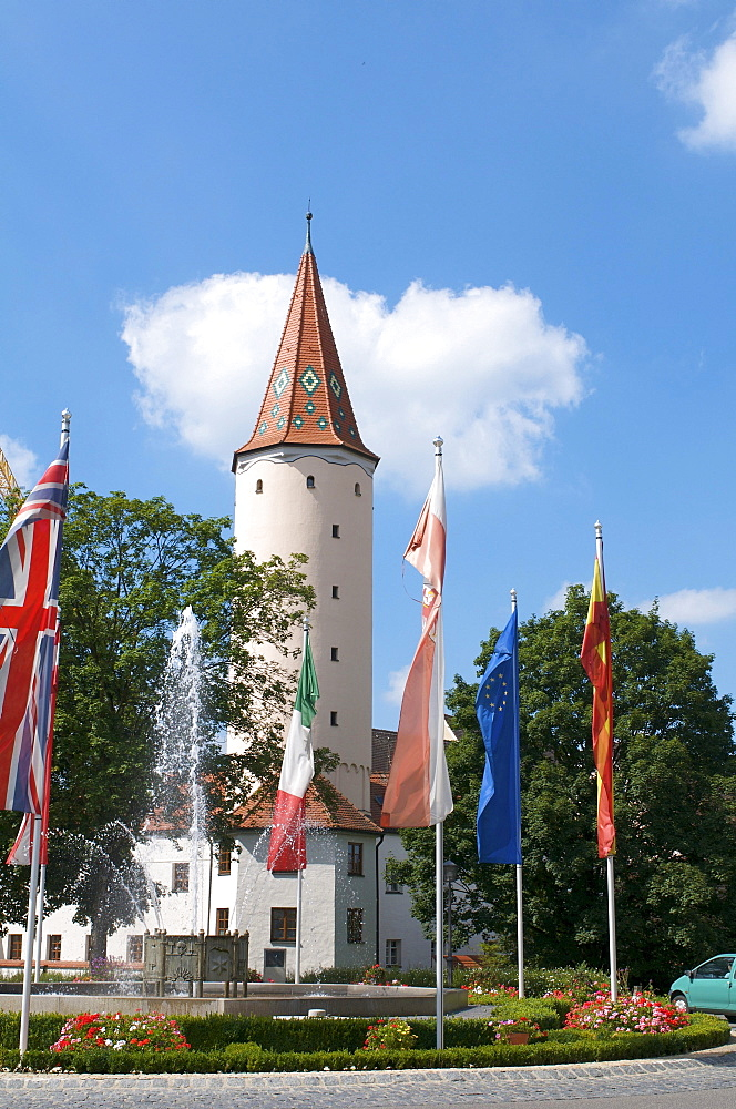 Prison Tower with Europe Fountain, Mindelheim, Swabia, Allgaeu, Bavaria, Germany, Europe