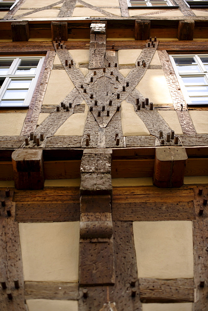 Detail of a half-timbered house, Buergeramt, citizen centre, Tuebingen, Baden-Wuerttemberg, Germany, Europe