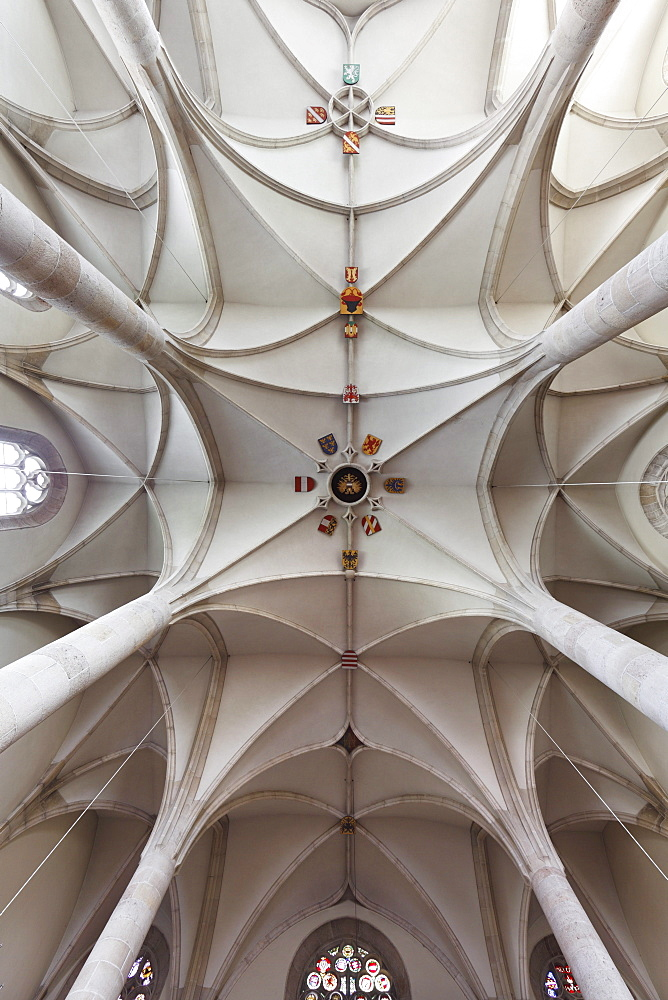 Vaulted ceiling with coat of arms, St. George's Cathedral in the Castle, Wiener Neustadt, Lower Austria, Austria, Europe