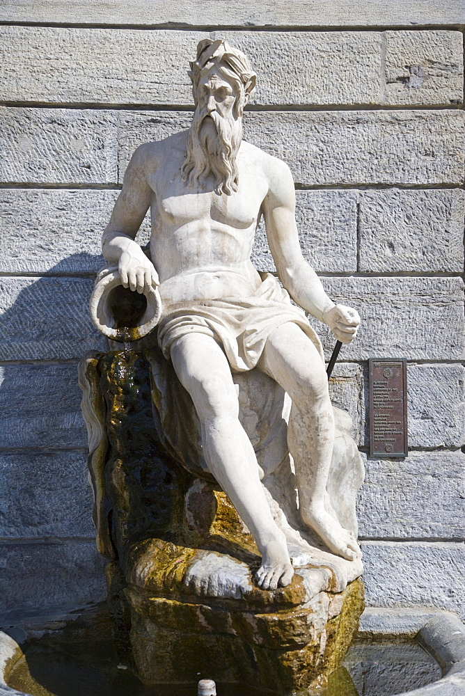 Statue of Buthier on the portico of Hotel de Ville, town hall, Piazza Emile Chanoux, Aosta, Aosta Valley, Valle d'Aosta, Italy, Europe