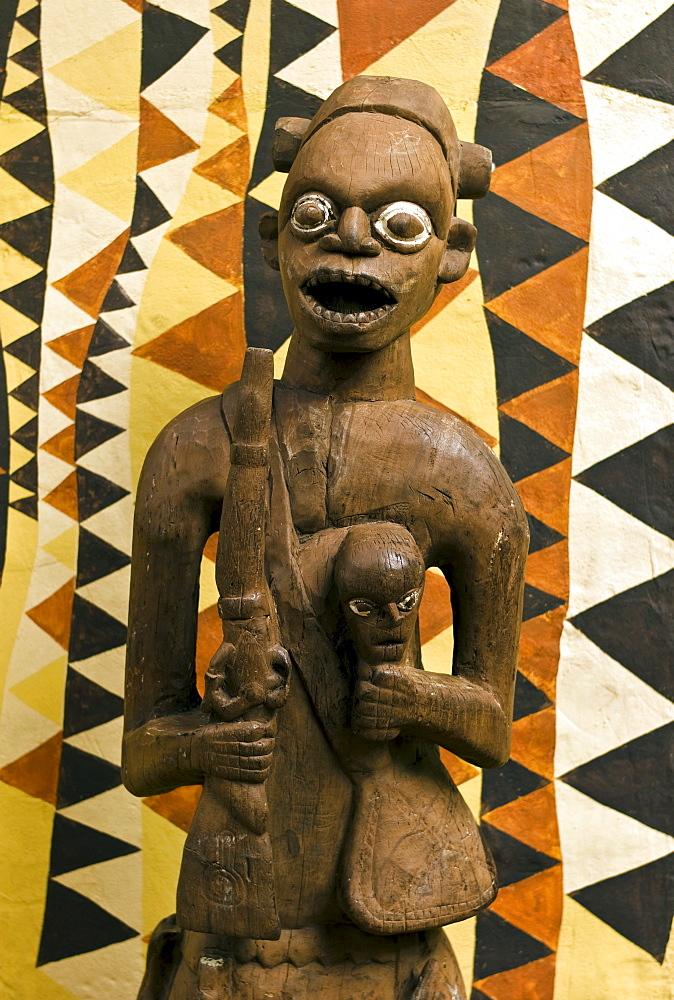 Phantasialand, African wooden figure, theme park DEEP IN AFRICA, Bruehl, Nordrhein-Westfalen, Germany, Europe