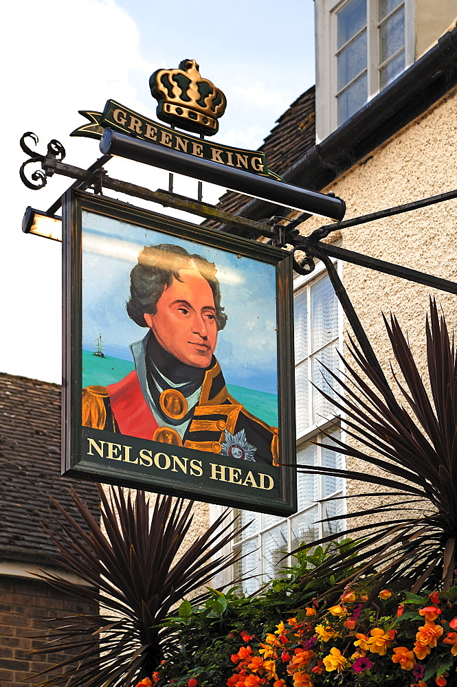 "Pub sign ""Nelson's Head, Crown Street, St. Ives, Cambridgeshire, England, United Kingdom, Europe"