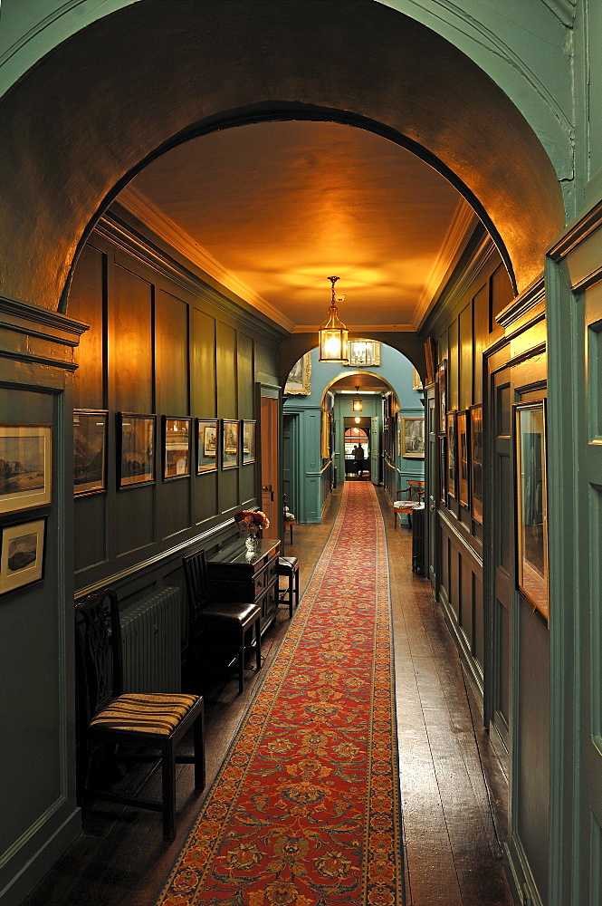 Corridor, interior furnishings around 1860, at Walmer Castle, 1540, Walmer, Deal, Kent, England, United Kingdom, Europe