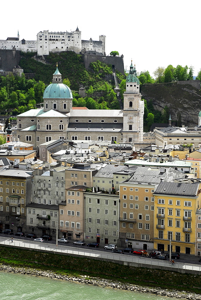 View from the Kapuzinerberg mountain on the historic centre with its cathedral and Festung Hohensalzburg fortress, Salzburg, Salzburger Land state, Austria, Europe
