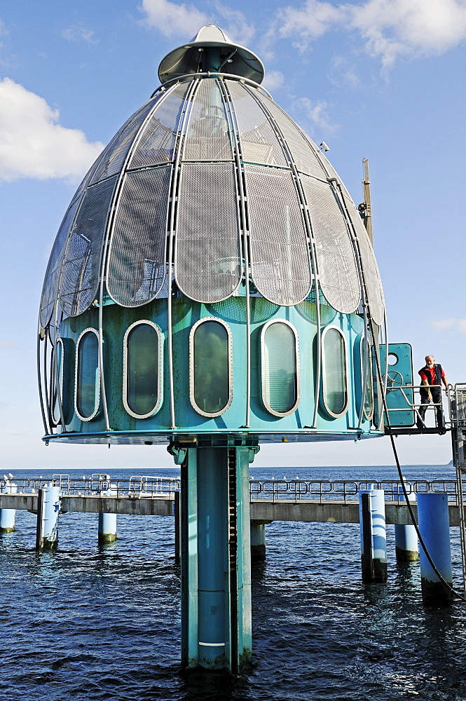 Diving bell at the pier in the Baltic resort Sellin, Ruegen Island, Mecklenburg-Western Pomerania, Germany, Europe