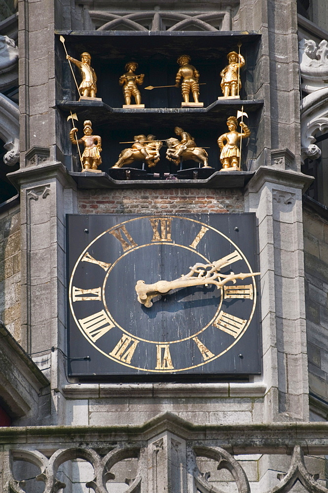 Clock tower of the late Gothic Town Hall of Middelburg, Walcheren, Zeeland, Netherlands, Europe