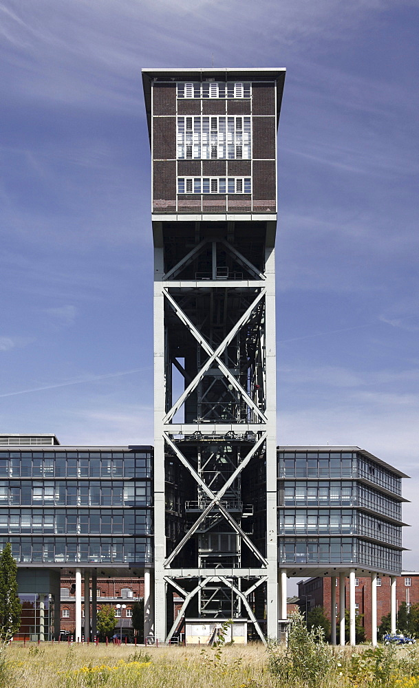 Hammerhead tower of the former Zeche Minister Stein mine, today office building and service center, Dortmund, North Rhine-Westphalia, Germany, Europe