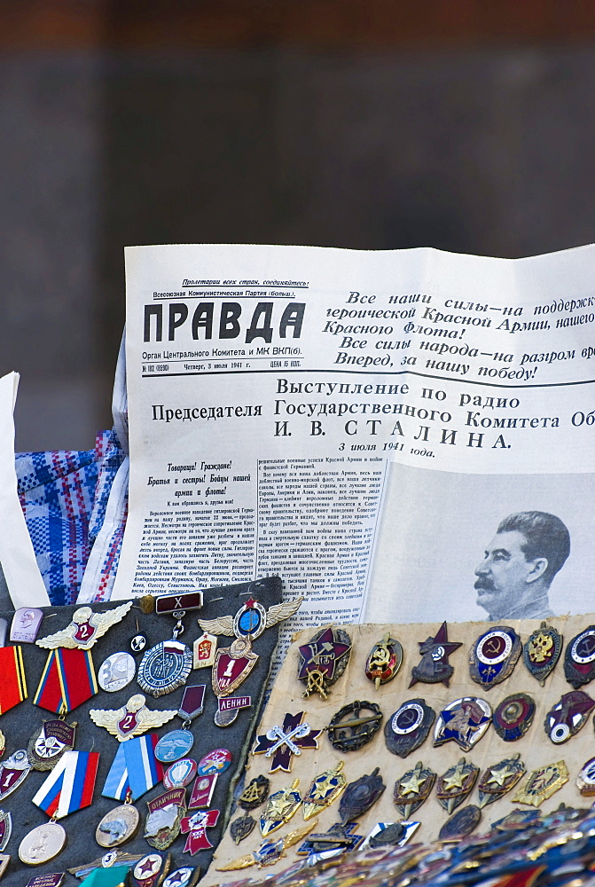Russian signs and Soviet newspaper Pravda with Stalin historical speech 3 July 1941