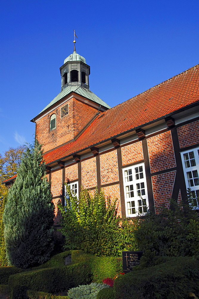 Timber-framed church with cemetery, Eichede, Kreis Stormarn district, Schleswig-Holstein, Germany, Europe