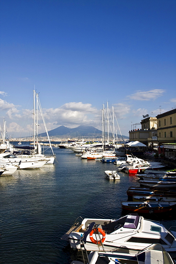 Volcano Vesuvio from small port of Borgo Marinaro, Naples, Campania, Italy, Europe