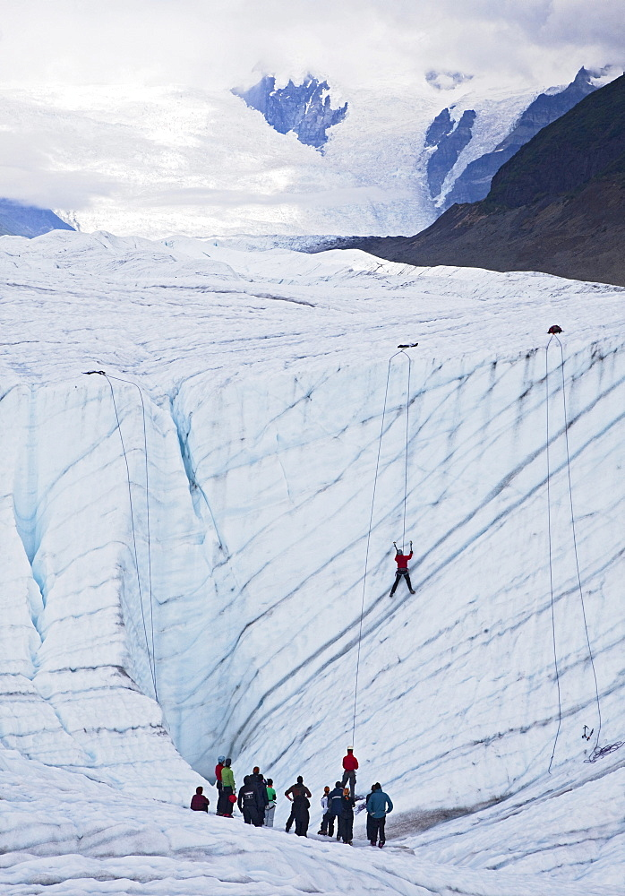 An ice climbing class on the Root Glacier in Wrangell-St. Elias National Park, Kennicott, Alaska, USA