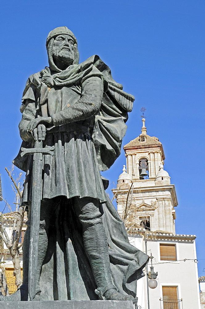 Monument, warrior, Moros, Cristianos, Moors, Christians, Plaza del Arco, square, Caravaca de la Cruz, sacred city, Murcia, Spain, Europe