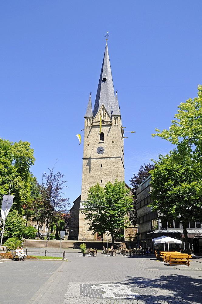 St Vincenz church, steeple, marketplace, Menden, Maerkischer Kreis district, Sauerland area, North Rhine-Westphalia, Germany, Europe