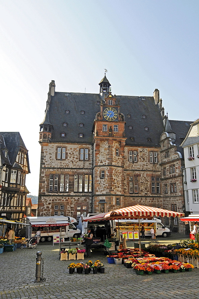 Farmer's market, Marktplatz market square, town hall, historic centre, Marburg, Hesse, Germany, Europe