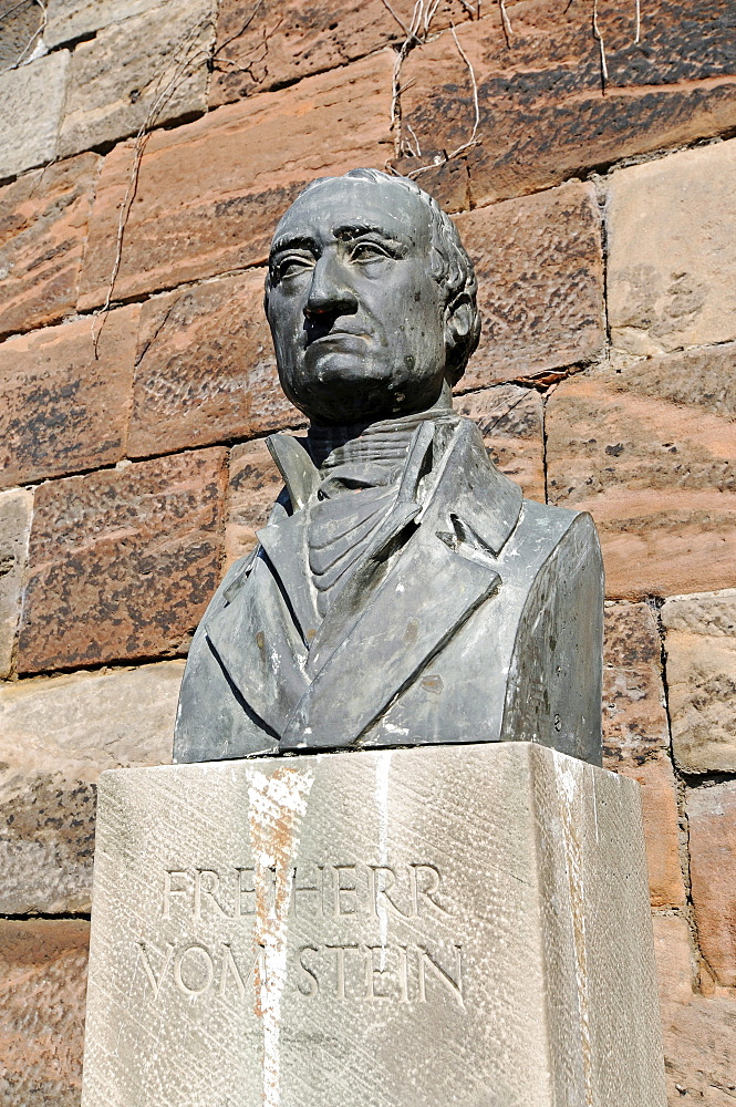 Freiherr vom Stein, politician, reformer, monument, Philipps University, old university, Marburg, Hesse, Germany, Europe