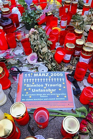 Killing spree, Albertville Realschule school, memorial site, Winnenden, Baden-Wuerttemberg, Germany, Europe