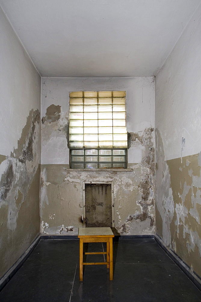 Prison cell with stool, Berlin-Hohenschoenhausen memorial, former prison of the GDR's secret service, Berlin, Germany, Europe