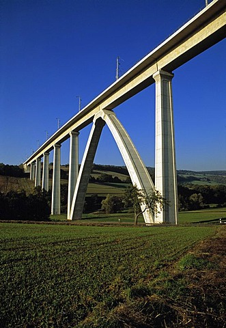 Modern ICE Railway viaduct near Melsungen, Hesse, Germany