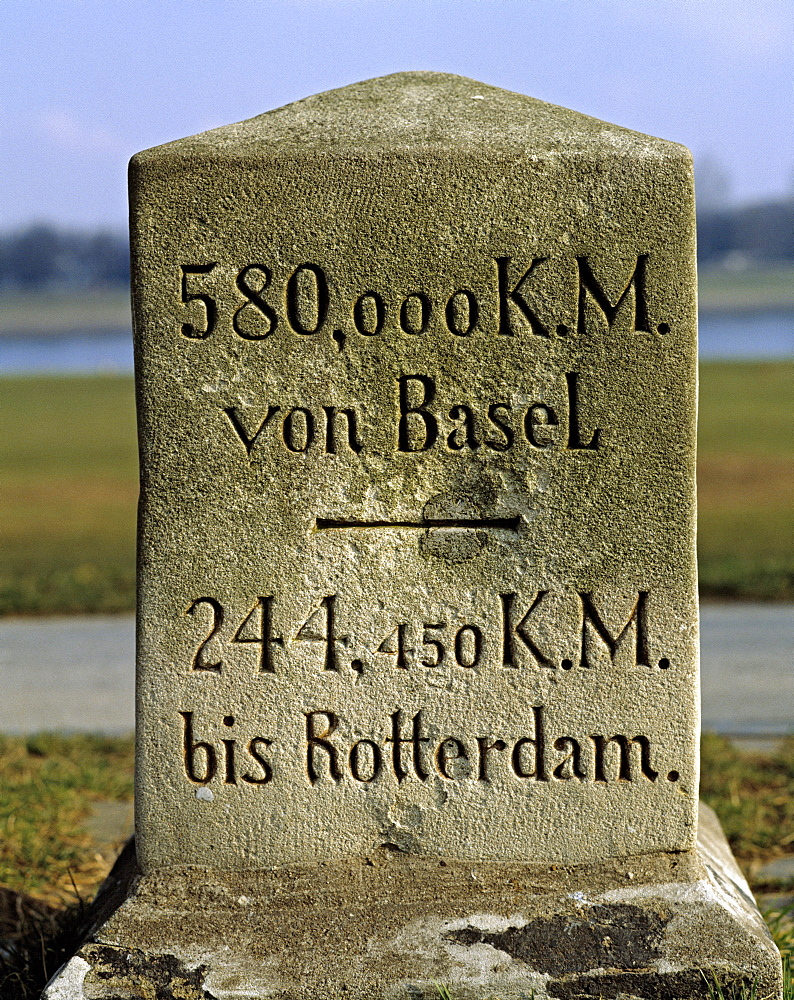 Myriameter stone, shows the length of the Rhine river, on Rhine Dyke at Duesseldorf-Loerick, North Rhine-Westphalia, Germany, Europe