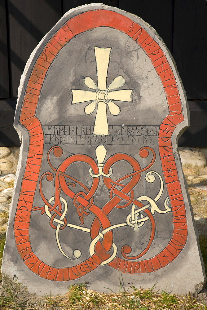 Christion symbols on a rune stone, at the Viking Museum in Bork on Ringkoebing Fjord, West Jutland, Denmark, Europe