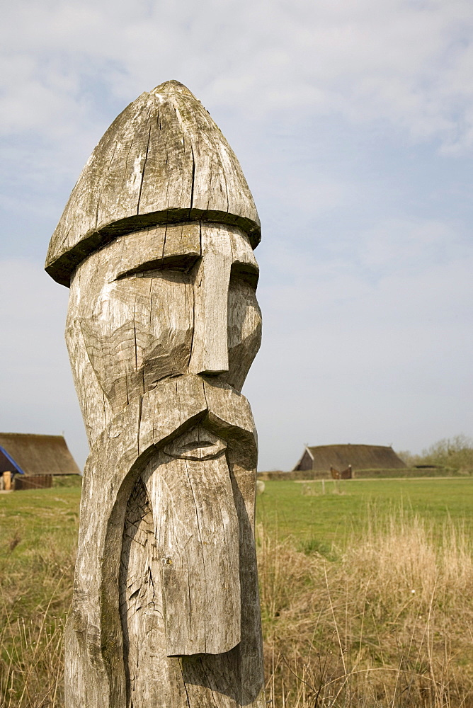 Wooden Viking head, at the Viking Museum in Bork on Ringkoebing Fjord, West Jutland, Denmark, Europe