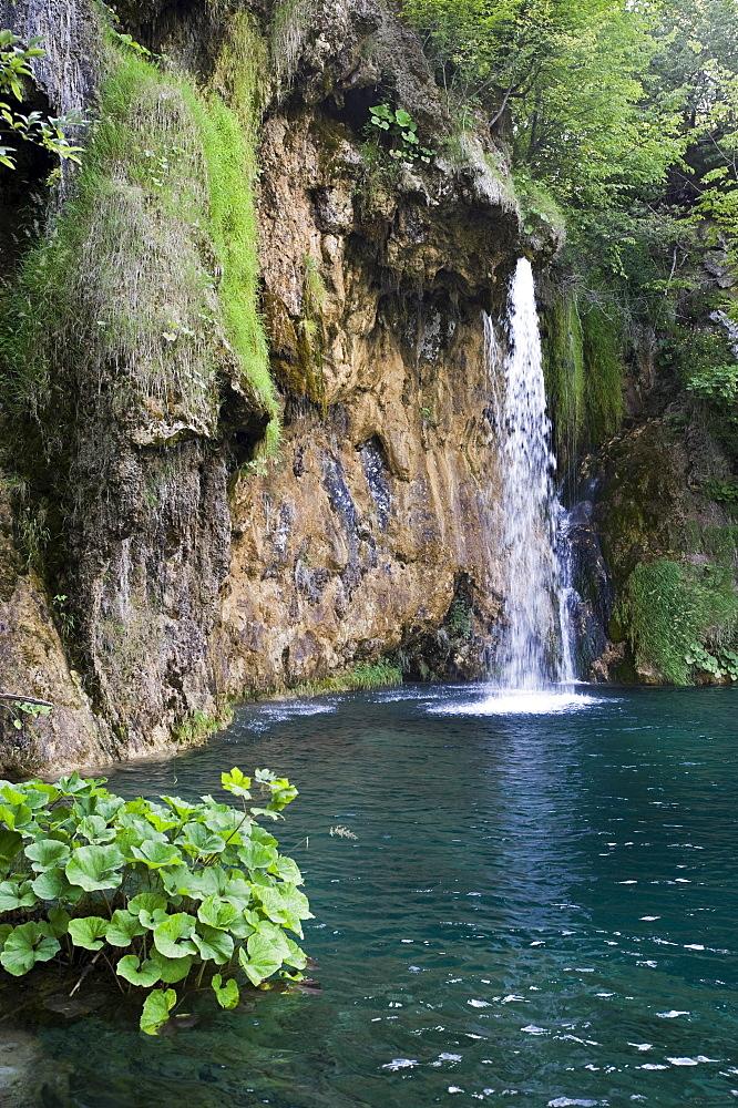 Small waterfall at the Plitvice Lakes, Plitvice Lakes National Park, Croatia, Europe