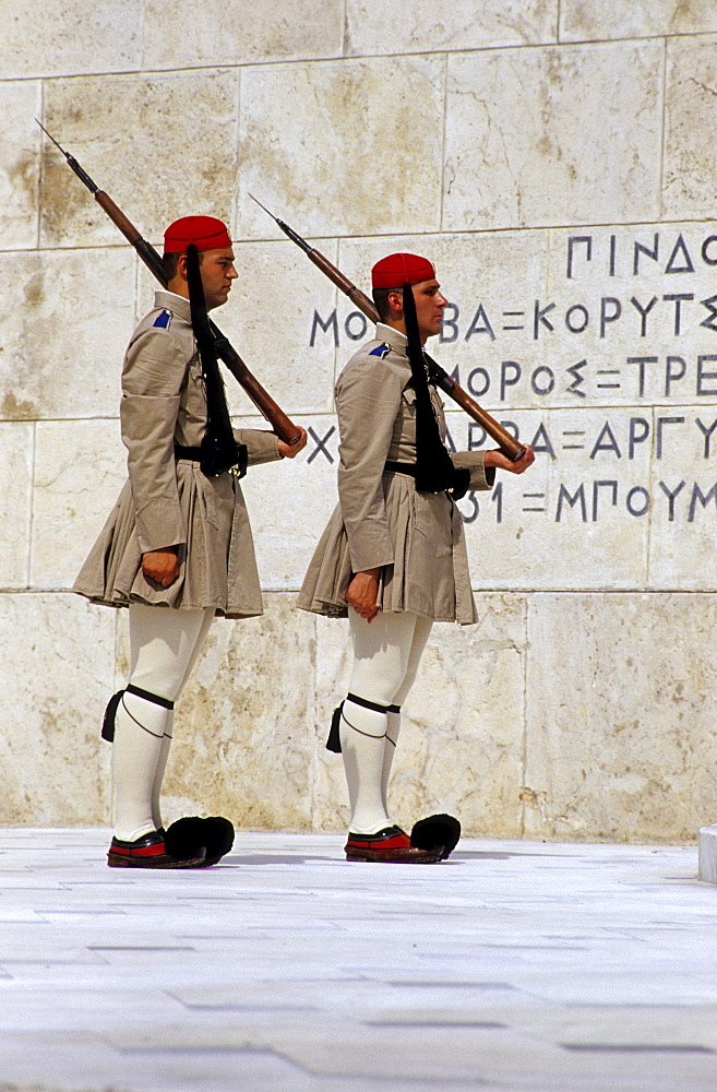 Evzoni, changing of the guards at the tomb of the unknown soldier in front of parliament at Syntagma Square, Athens, Greece, Europe