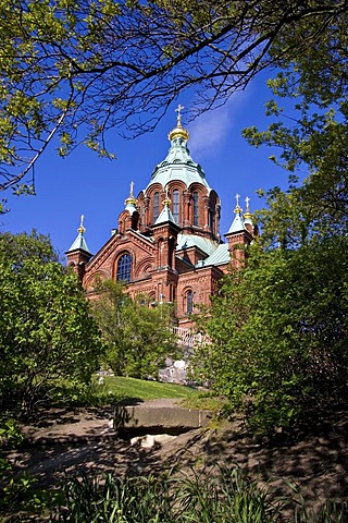 Uspensky cathedral in Helsinki, built 1868, it is the largest orthodox cathedral in Western Europe, Helsinki, Finland, Europe