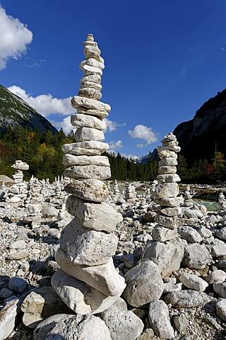 Stone hills, stone pyramids, stone men, Hinterautal, Isar spring valley, Karwendel, near Scharnitz, Tyrol, Austria, Europe