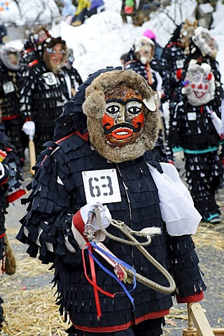 Urzeln characters of the Saxons of Transylvania, carnival parade, Muensing, Upper Bavaria, Germany, Europe