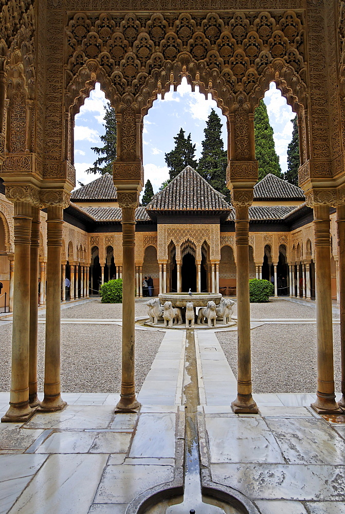 Court of the Lions, Alhambra, Granada, Andalusia, Spain, Europe