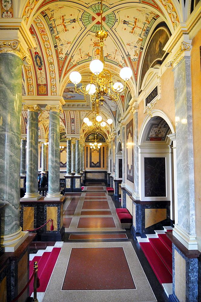 Interior architecture, Semperoper opera house, Dresden, Saxony, Germany, Europe