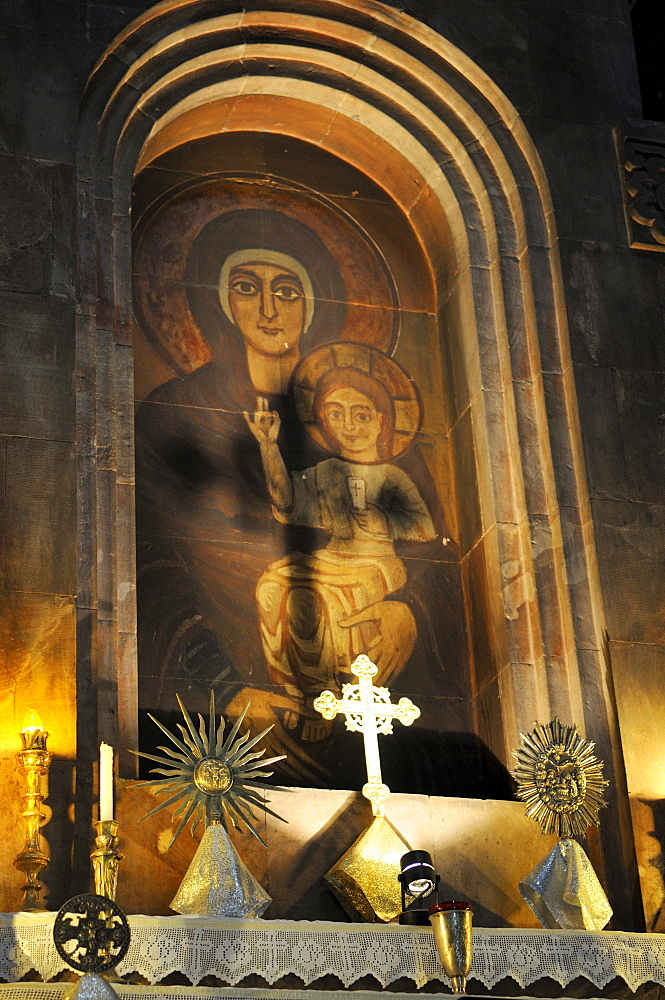 Altar in the Armenian Orthodox church of St. Hripsime with Virgin Mary and Jesus, UNESCO World Heritage Site, Echmiadzin, Armenia, Asia