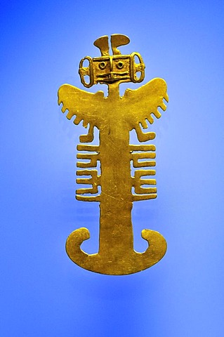 Pre-Columbian goldwork collection, mythical bird with human head, Gold Museum, Museo del Oro, Bogota, Colombia, South America
