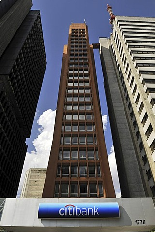 Modern skyscraper, headquarters of the Citibank in the Avenida Paulista street, Sao Paulo, Brazil, South America
