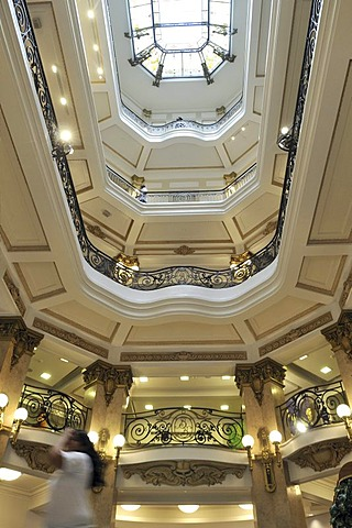 Luxurious interior of a bank building from the early 20th century, Centro Cultural Banco do Brasil, Sao Paulo, Brazil, South America