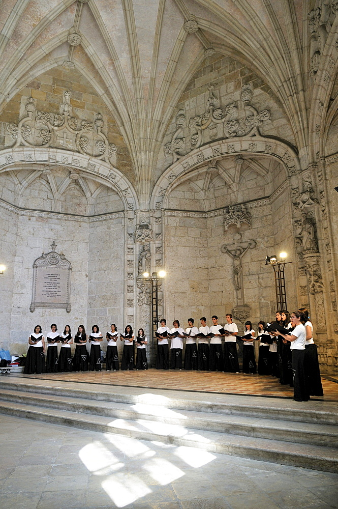 Choir in the Hieronymites Monastery, Mosteiro dos Jeronimos, UNESCO World Heritage Site, Manueline style, Portuguese late-Gothic, Belem, Lisbon, Portugal, Europe