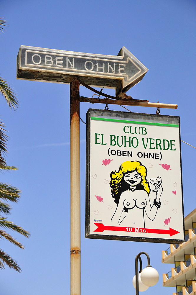 "Sign of the topless club ""El Buho Club"" on Playa de Palma, El Arenal, Majorca, Balearic Islands, Spain, Europe"